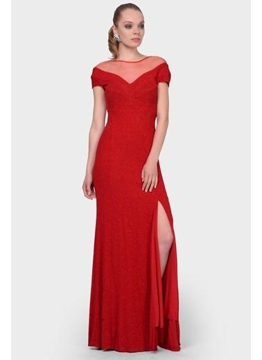 İroni Uzun Abiye Elbise Kırmızı
